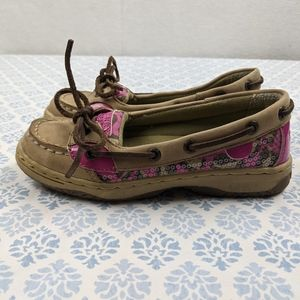 Sperry top Sider angelfish pink leopard boat shoe